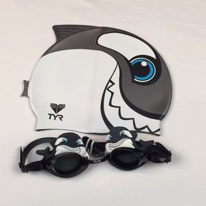 TYR Happy Whale Swimcap and Goggles Bundle